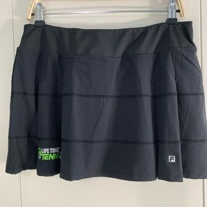 Fila L pleated tennis skort black Lifetime logo
